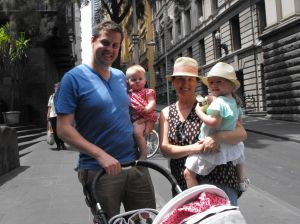 Matt McDonald, Kara Pattison with their children Bella and Ava McDonald enjoyed a family day out. It was nine-month-old ...