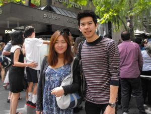Thai students Billy Sutthajit and Pang Nuuvathai started the day watching the parade in the CBD and were planning to ...