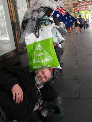 Mark Doughney is currently living on the streets. He joined in to celebrate the nation.