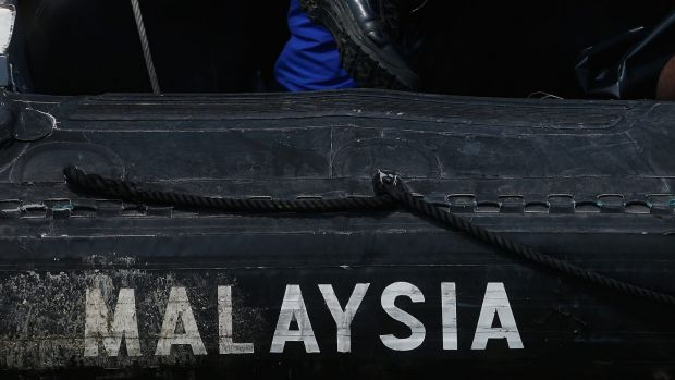 A Malaysian Maritime Enforcement Agency (MMEA) boat during search and rescue (SAR) operations in September 2015 in Hutan ...