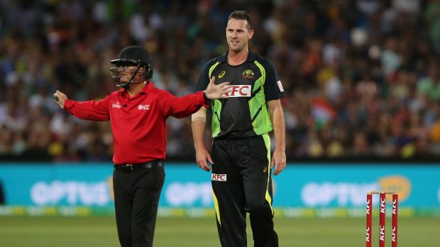 Not effective ... Australia's Shaun Tait has another wide called against him.