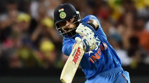 Brilliant form ... Virat Kohli of India lashes out on his way to 90 off 50 balls during the Twenty20 International at ...