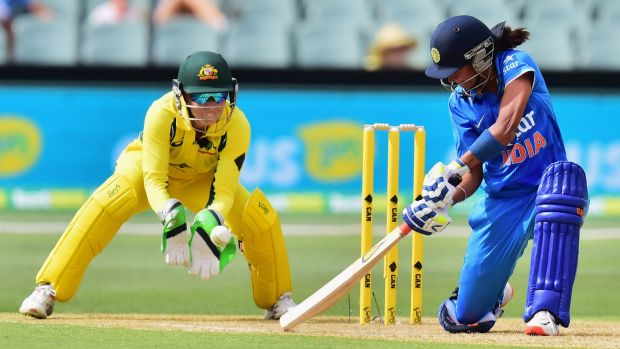 Grand contest: Harmanpreet Kaur of India played the pivotal innings with 46 from 31 balls.