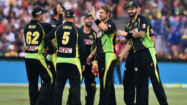 Bowled well ... Shane Watson reacts after James Faulkner takes a catch to dismiss Rohit Sharma.