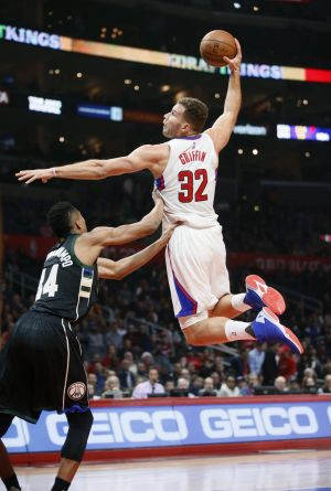 High flyer: Blake Griffin in action earlier this season.