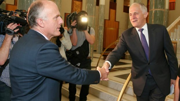 Senator Eric Abetz greets Prime Minister Malcolm Turnbull. Senator Abetz's message on marriage equality is equally ...