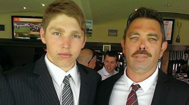 Duncan Wilmott with his father Ryan on Melbourne Cup day, 2015.