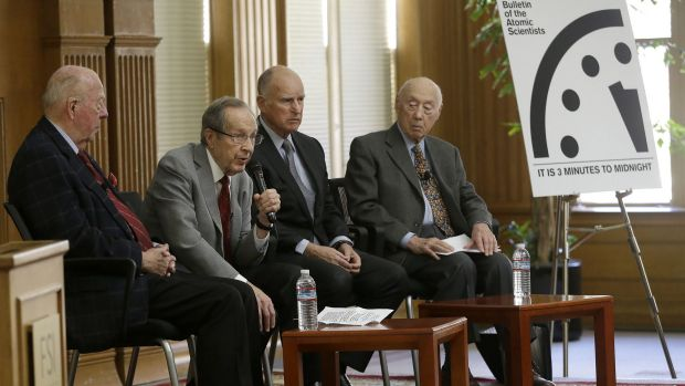 Former US secretary of defence William Perry (second from left) next to former US secretary of state George Shultz, ...