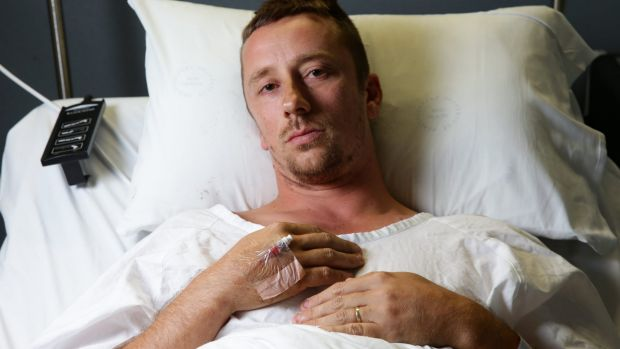 Peter Lalor recovering in hospital in February last year.