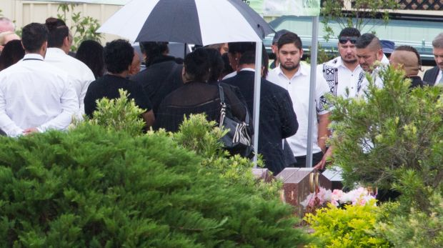 Family farewell David Petersen, who was shot by a policemen at Quakers Hill, at a funeral in Sydney's west on Wednesday.