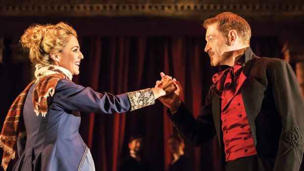 Miranda Raison (Hermione) and Kenneth Branagh (Leontes) in <i>The Winter's Tale</i>.
