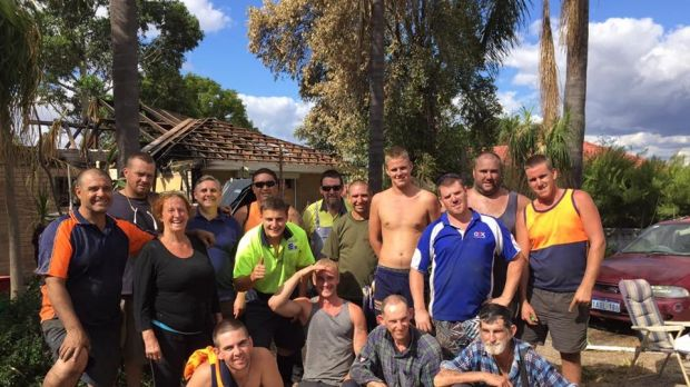 Julie Main with residents of no-nonsense rehab centre Shalom House, who are rebuilding her home from scratch after a ...