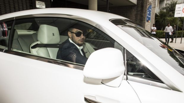 Salim Mehajer leaves Auburn Council chambers in January.