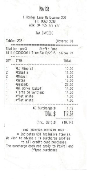 Receipt for lunch with Ian Collie at Movida.
