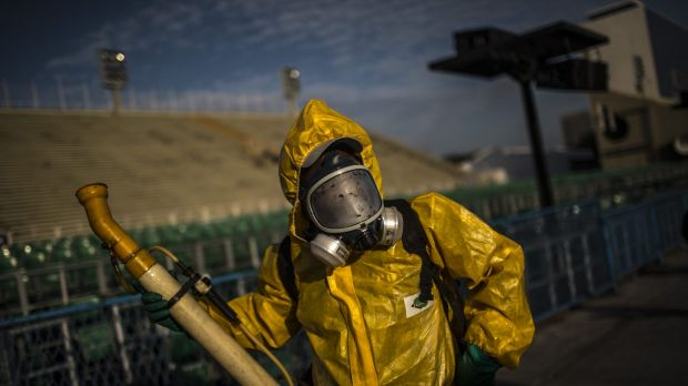 A worker fumigates the Sambadrome before Carnival celebrations in Rio de Janiero.