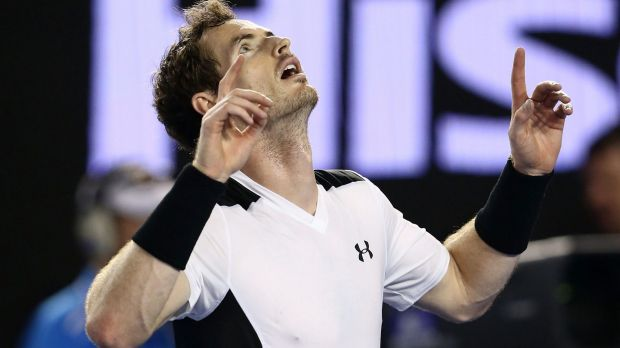 Semi-final bound: Andy Murray celebrates his hard-fought quarter-final win over David Ferrer.