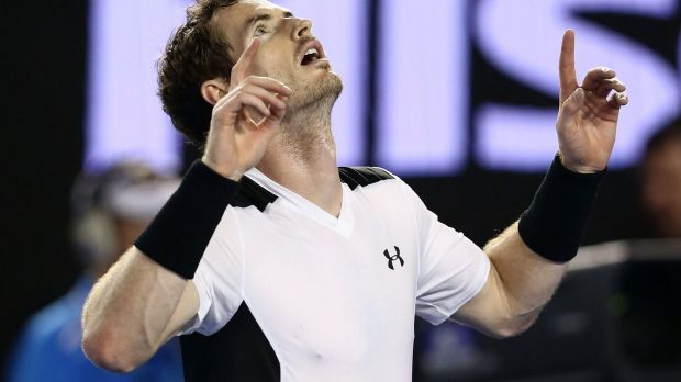 On top: Andy Murray celebrates his hard-fought quarter-final win over David Ferrer.
