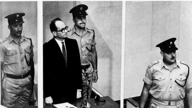 Adolf Eichmann in the dock at his trial in Jerusalem.