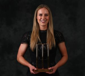 Ellyse Perry with the Belinda Clark Medal she was awarded on January 27.