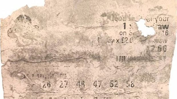 This is the tattered lotto ticket that Susanne Hinte claims went through the wash.