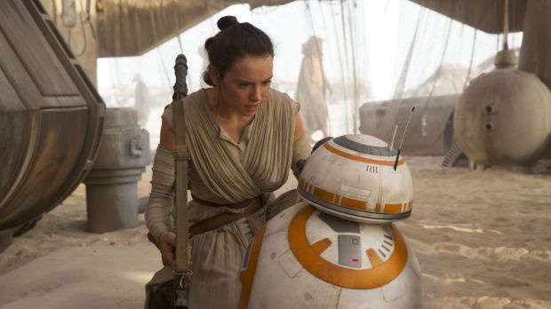 John Williams is a favourite to win Best Score at this year's Oscars for Star Wars: The Force Awakens. Pictured are Rey ...