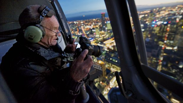 Architectural photographer John Gollings at work doing an aerial shoot.