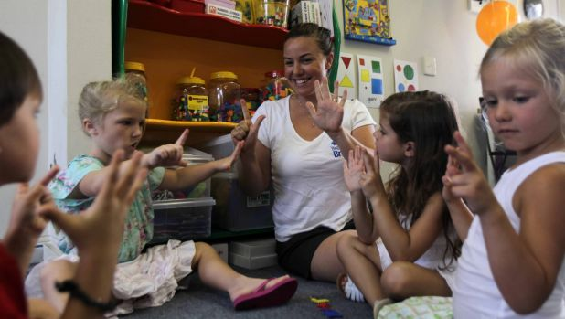 Tina Tower with preschool pupils at her Begin Bright class in Cronulla. Tina prepares children as young as three for ...