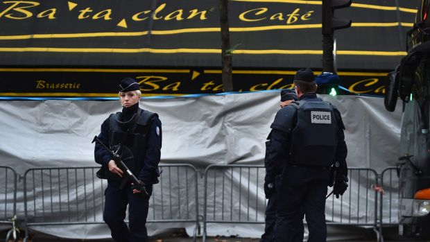 French police officers in front of the Bataclan concert hall  after the November 13 terrorist attacks.