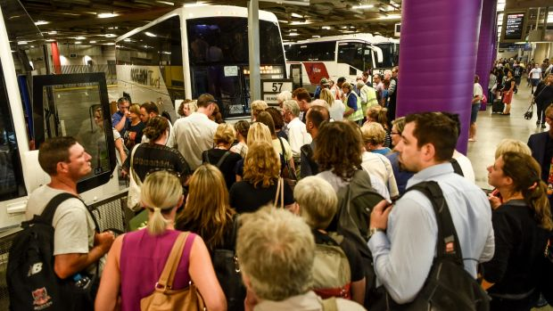 Queues at the Southern Cross station bus terminal for buses replacing V/Line services that were cancelled.