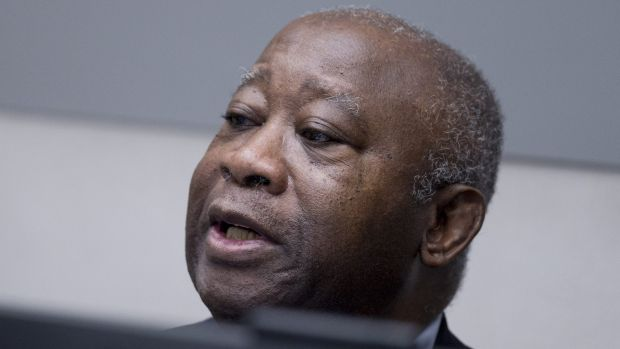 Former Ivory Coast president Laurent Gbagbo waits for the start of his trial at the International Criminal Court in The ...
