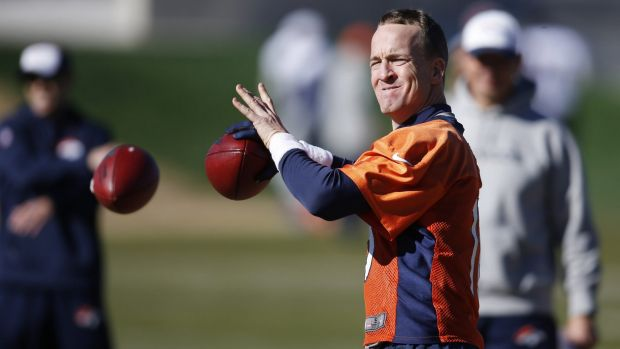 Denver Broncos quarterback Peyton Manning throws during practice.