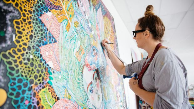 "Artist and Spectrum Now creative ambassador Del Kathryn Barton: ""The unicorn painting is my offering to this festival."""