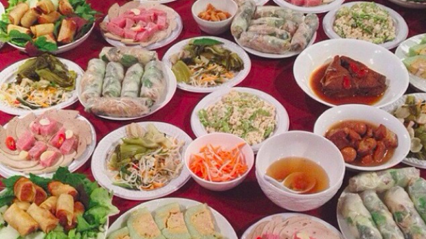 The feast at a previous Vietnamese New Year celebration at Giselle Au-Nhien Nguyen's house.
