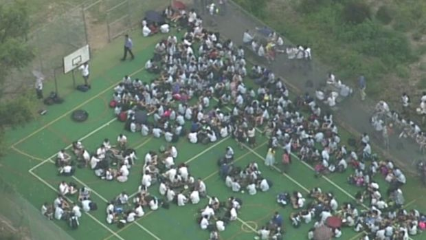 Pupils from Penrith High School were evacuated following a hoax call in February.