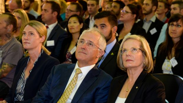 Prime Minister Malcolm Turnbull with wife Lucy and Google Australia managing director Maile Carnegie.