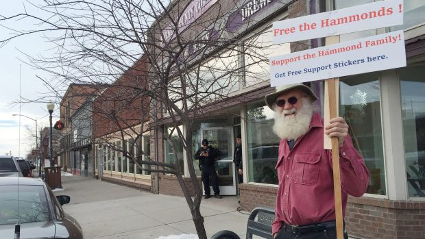 Kim Rollins, 64, outside the Harney County Community Centre in Burns, Oregon, appeals for the release of a father and ...