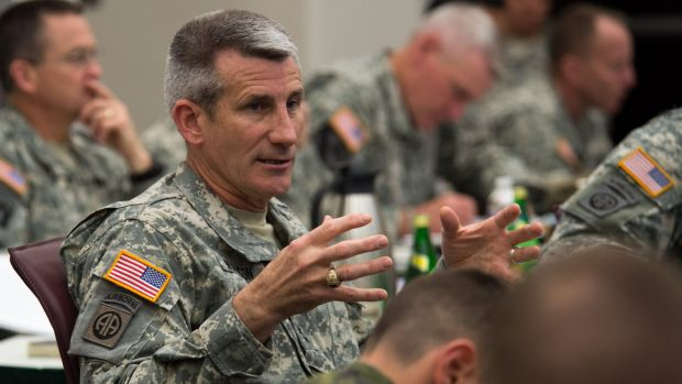 General John Nicholson, seen here speaking to his senior leaders at Fort Bragg, North Carolina, is the White House's ...