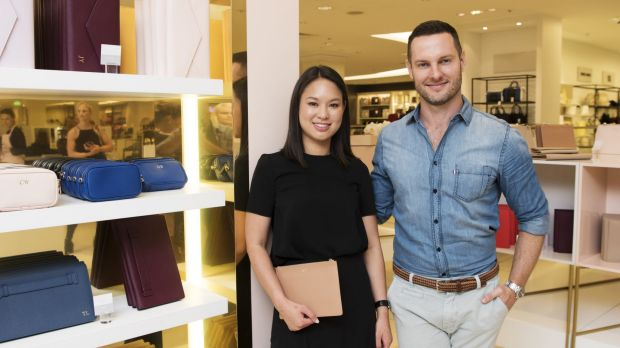 The Daily Edited's Alyce Tran and <I>The Block's</i> Darren Palmer at tde.'s pop-up shop in David Jones.