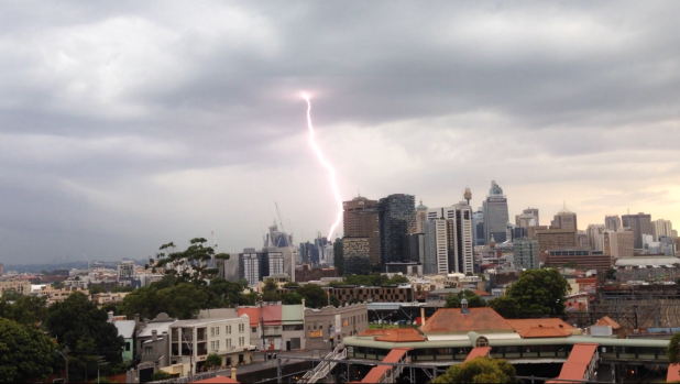 Lightning strikes Sydney during Friday afternoon's severe thunderstorms.