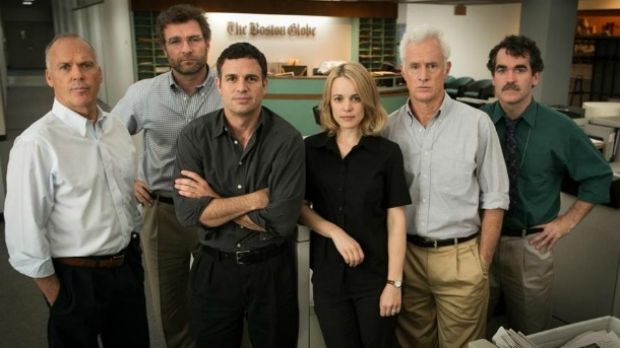 """Pursuing priests: the crusading cast from """"Spotlight"""". Cast and crew were on stage last Sunday as the film won the Oscar ..."""