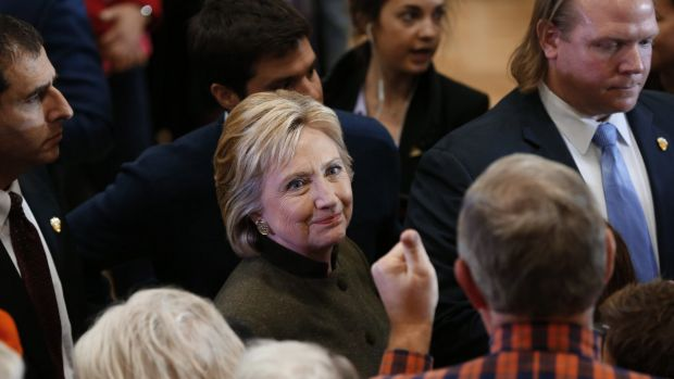 Democratic presidential candidate Hillary Clinton greets audience members after a campaign event at Berg Middle School, ...
