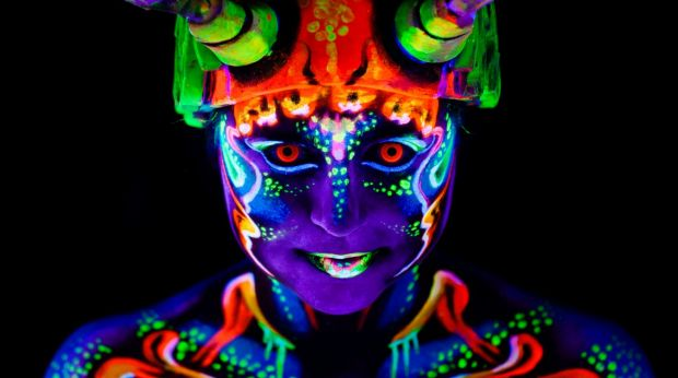 Performers were lit up in UV body paint.