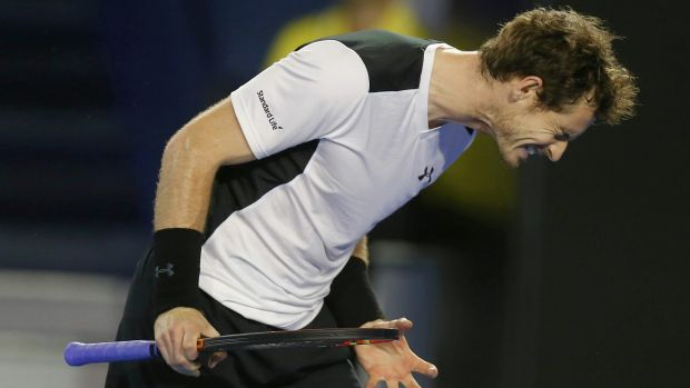 Under pressure: A frustrated Andy Murray during his semifinal match.