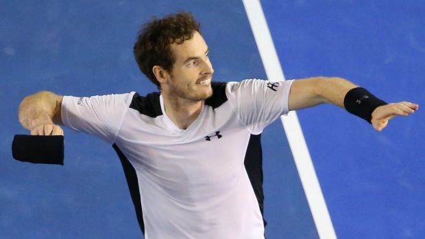Andy Murray celebrates victory against Milos Raonic.