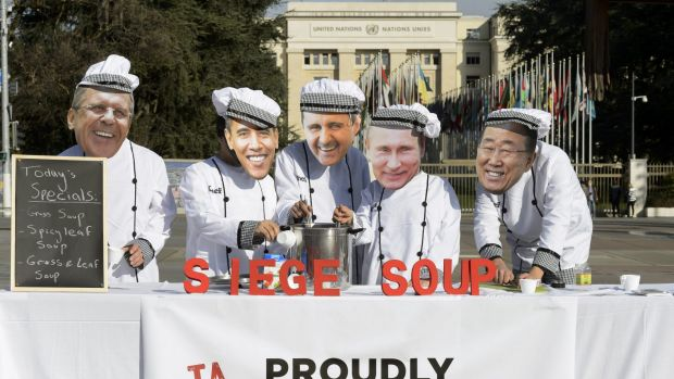 "Protesters serve up ""siege soup"" during the start of Syrian peace talks in Geneva."