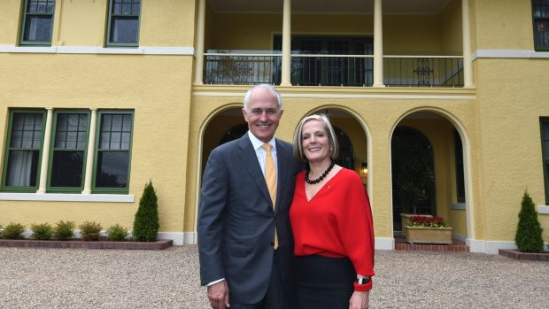 Prime Minister Malcolm Turnbull and wife Lucy at The Lodge.