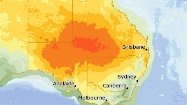 Hot temperatures are expected with this map showing the hot air mass moving across Queensland towards the coast on Monday.