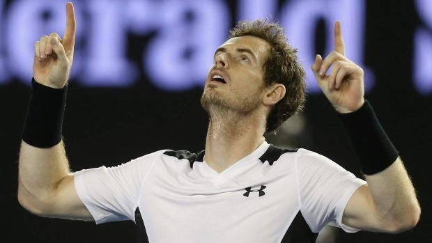 Murray celebrates his victory over Milos Raonic.