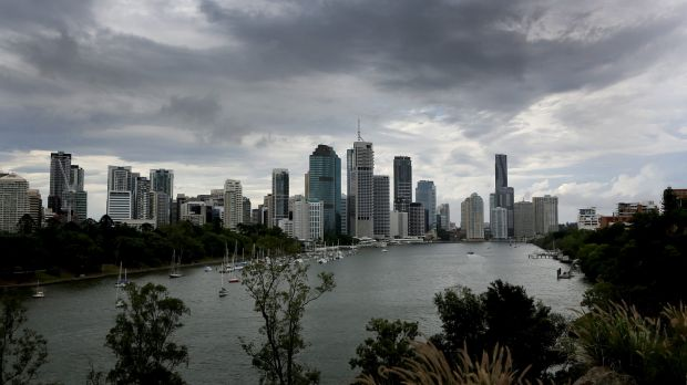 Storm and rain clouds pass over Brisbane.