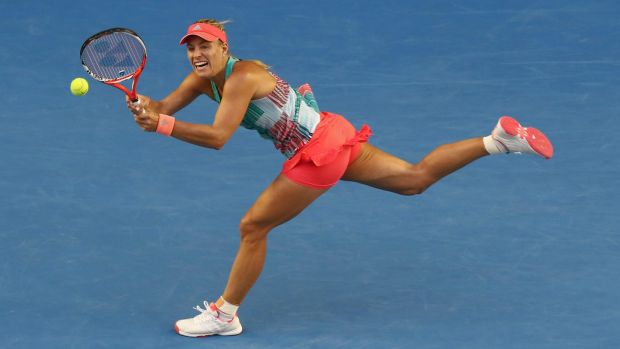 In the balance: Angelique Kerber hits a return during the final.